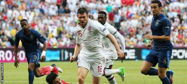James Milner playing for England