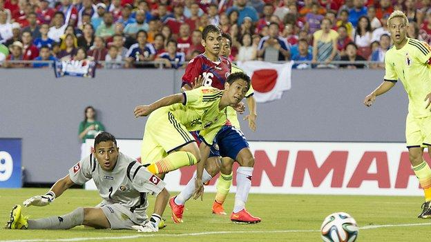 Shinji Kagawa scores against Costa Rica