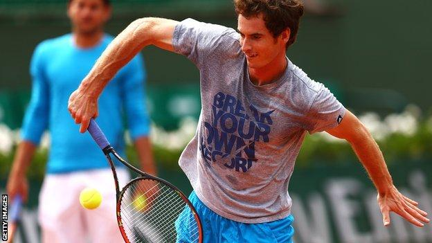 Andy Murray in practice on Tuesday