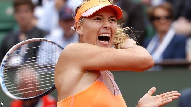 Maria Sharapova during her quarter-final win over Garbine Muguruza