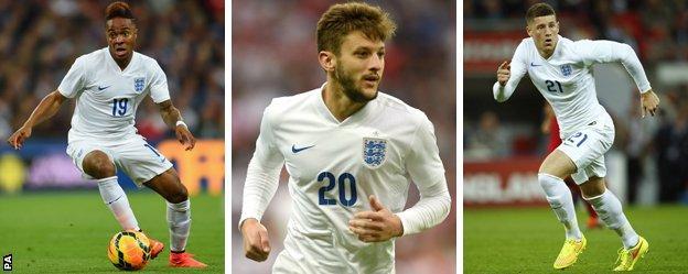 England trio Raheem Sterling, Adam Lallana and Ross Barkley