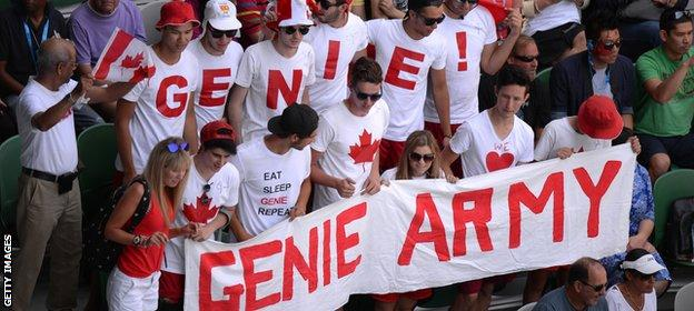 Eugenie Bouchard's supporters at the Australian Open