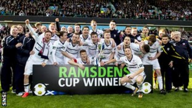 Raith Rovers celebrating after winning the Ramsdens Cup