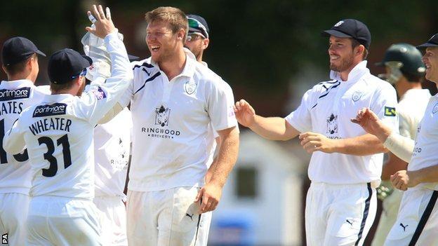 Hampshire celebrate a wicket