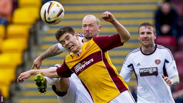 Jack Leitch in action for Motherwell against Hearts