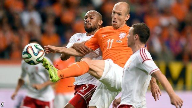 Netherlands' Arjen Robben (centre) takes on Wales defenders Danny Gabbidon (left) and James Chester (right)