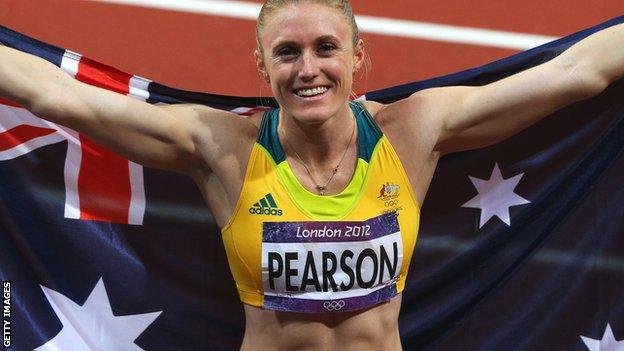 Sally Pearson celebrates her gold medal at the 2012 London Olympics