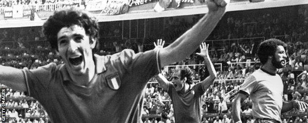 Paolo Rossi, shown here after scoring against Brazil, won the Golden Boot when Italy won the 1982 World Cup