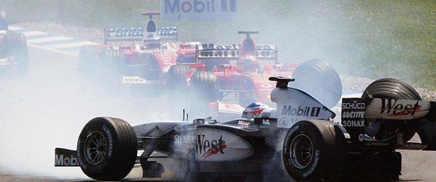 Kimi Raikkonen crashes during the 2003 German GP