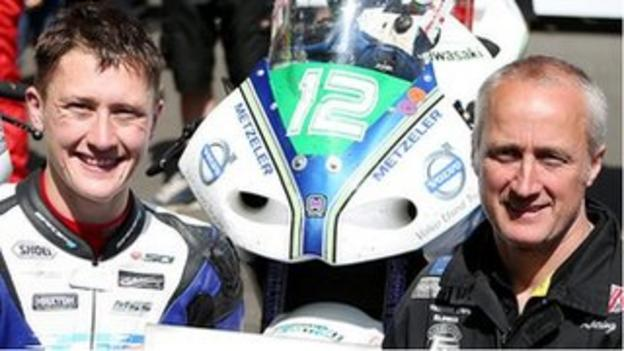 Dean Harrison with his father Conrad at the TT races