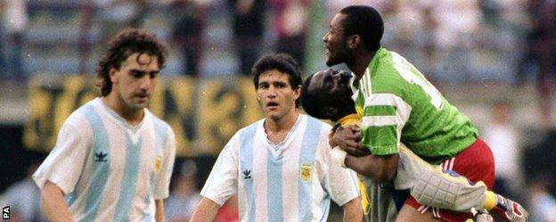 Cameroon beat Argentina in 1990