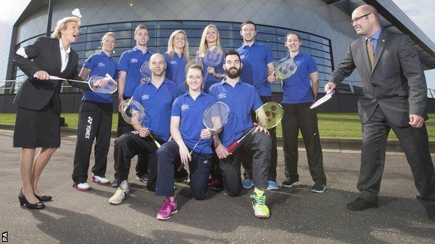 The Scotland badminton team for Glasgow 2014