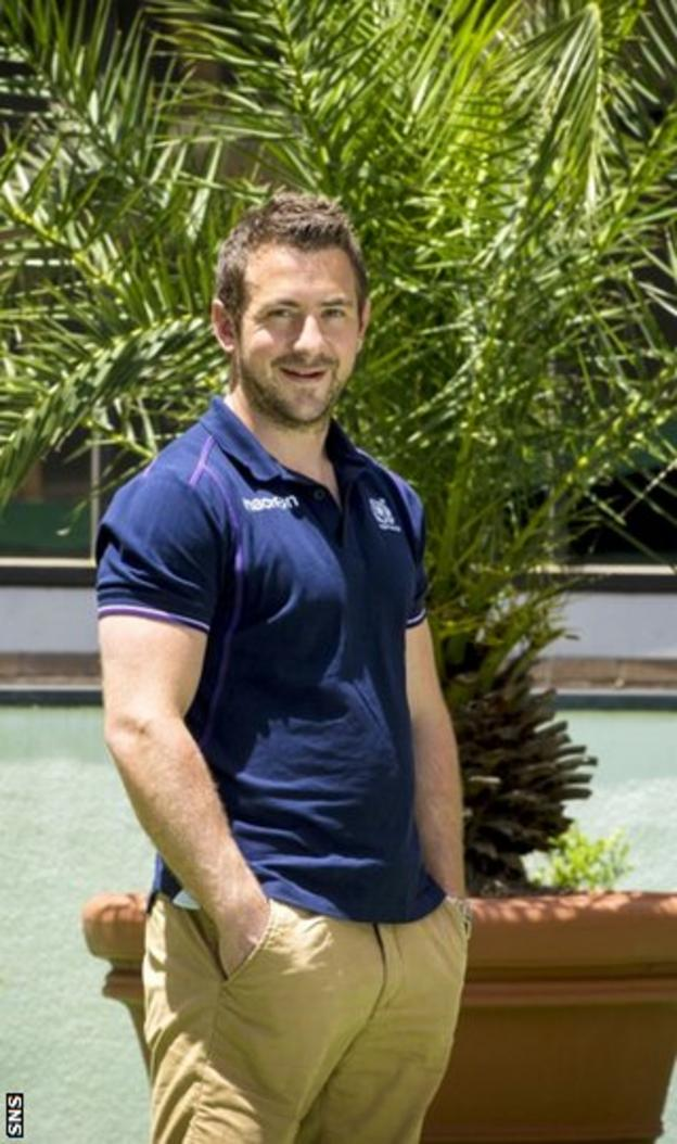 Greig Laidlaw relaxes beside the pool