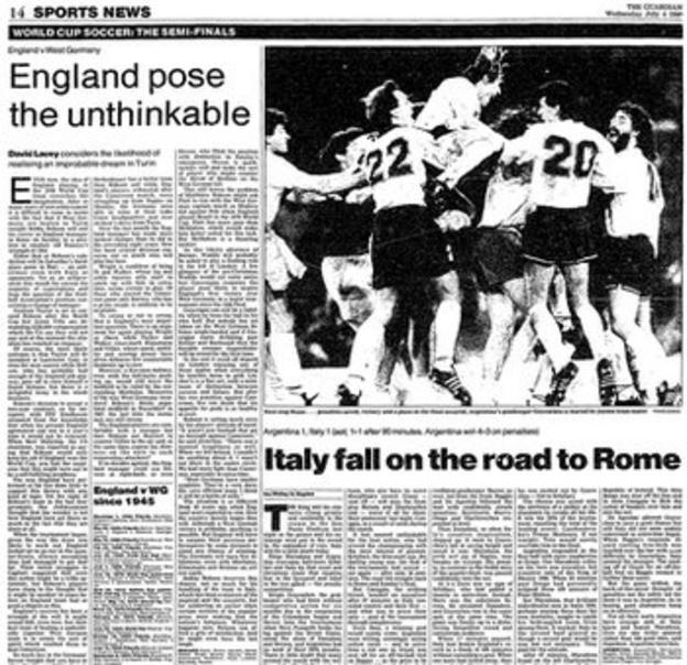 The Guardian previews England's World Cup semi-final with Germany