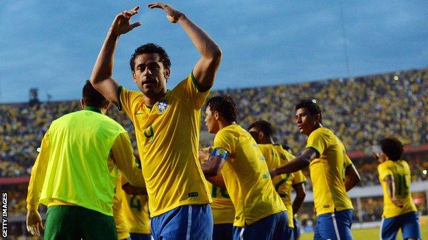 Fred scored Brazil's only goal against Serbia