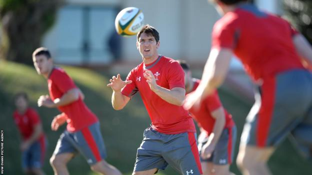 James Hook in action during a Wales training session in South Africa.