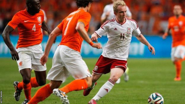Wales midfielder Jonathan Williams on the attack against the Netherlands in Wednesday's friendly in Amsterdam.