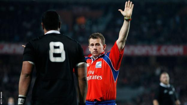 Welsh referee Nigel Owens officiates New Zealand's first Test 20-15 victory over England at Eden Park, Auckland.