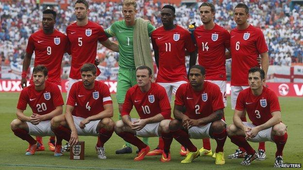 The England team which started against Honduras