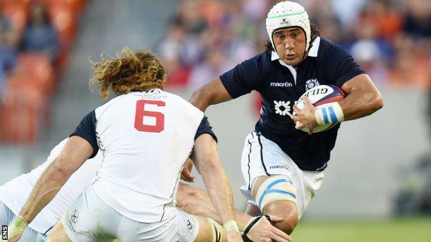 Blair Cowan in action for Scotland against USA