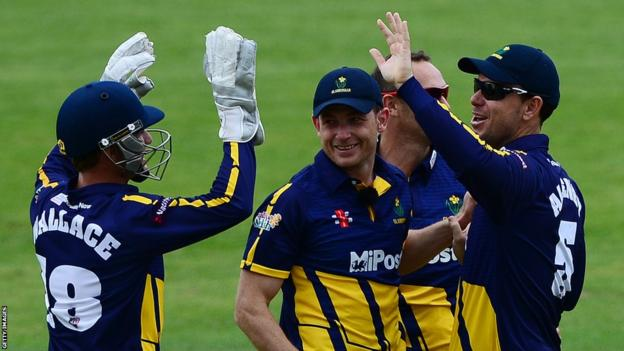 Glamorgan players celebrate taking a wicket in their T20 Blast match against Gloucestershire in Bristol.