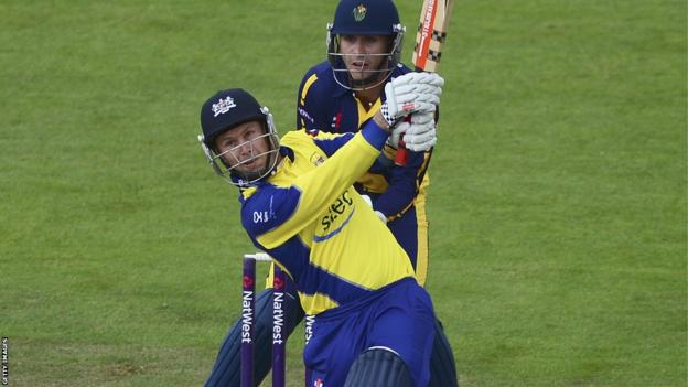 Geraint Jones hits a six for Gloucestershire against Glamorgan in their T20 Blast match in Bristol.