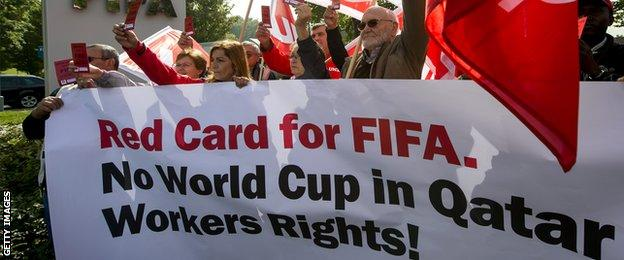 Fifa has been subjected to protesters claiming that migrant workers are being treated badly in Qatar