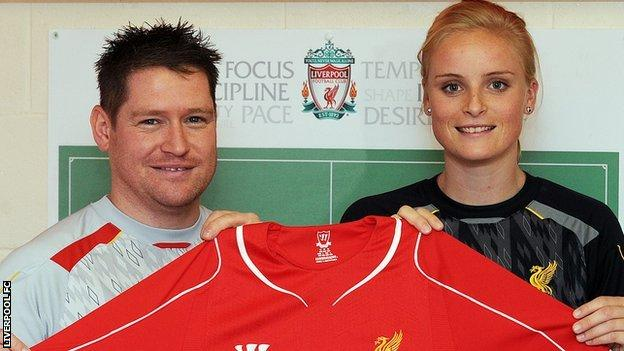 Liverpool Ladies manager Matt Beard and new signing Nina Pedersen