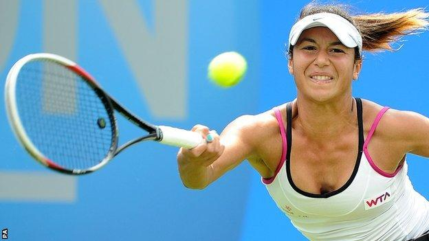 Heather Watson loses in three sets to Aleksandra Wozniak in the Aegon Classic first-round match