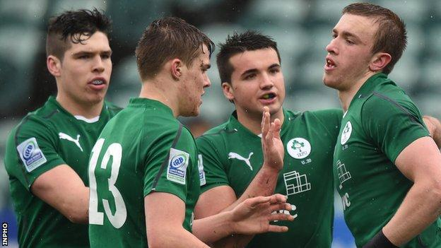 Ireland's Ciaran Gaffney celebrates his try in the Pool B match against Fiji