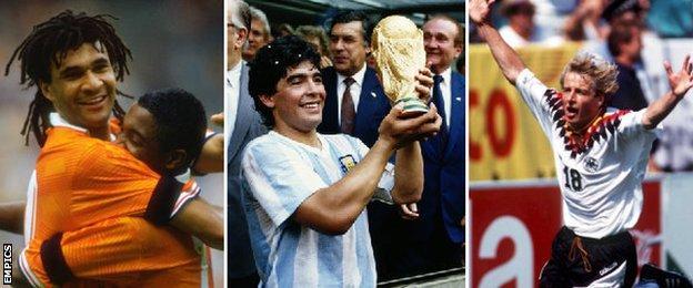 Ruud Gullit, Diego Maradona and Jurgen Klinsmann