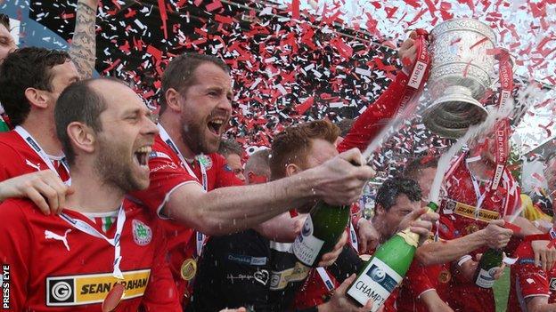 Cliftonville celebrate winning last season's Premiership title