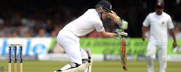 Sam Robson is caught behind for one on his England debut at Lord's