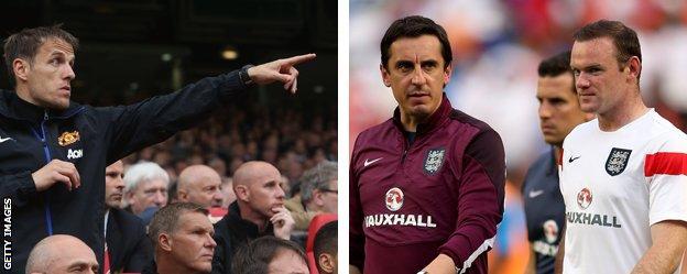 Phil Neville, Gary Neville and Wayne Rooney