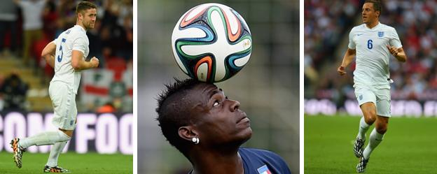 England defenders Gary Cahill and Phil Jagielka, and Italy striker Mario Balotelli