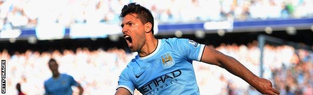 Sergio Aguero scoring for Manchester City