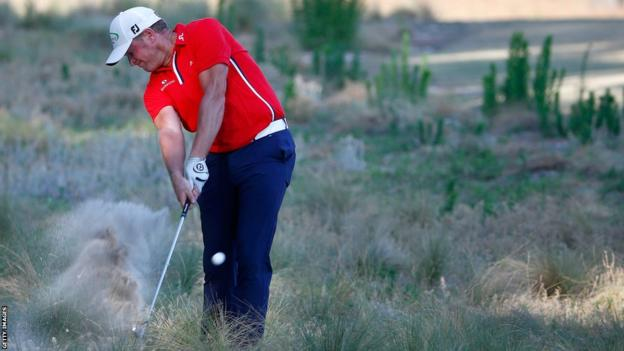Welsh golfer Jamie Donaldson negotiates the rough at Pinewood on his way to shooting his opening round of 70, level par, at the US Open.