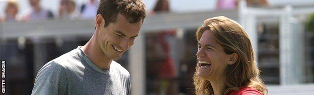 Andy Murray and Amelie Mauresmo share a laugh during practice
