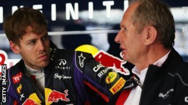Sebastian Vettel and Red Bull Motorsport Consultant Dr Helmut Marko