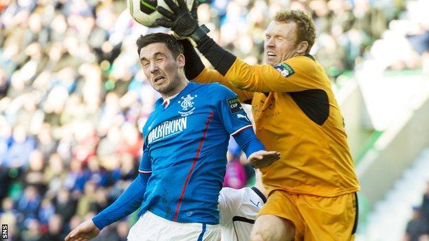 Rangers forward Nicky Clark challenges Raith Rovers goalkeeper Lee Robinson in last season's Challenge Cup final