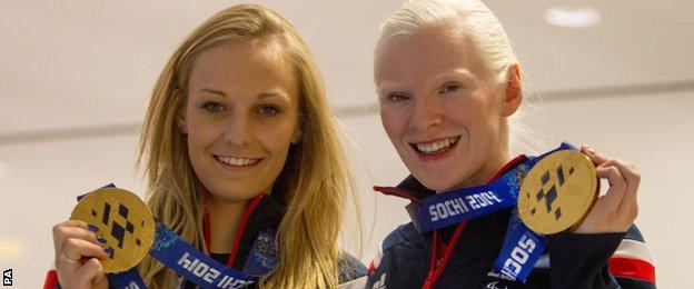 Charlotte Evans (left) and Kelly Gallagher made history for Britain at the Winter Paralympics