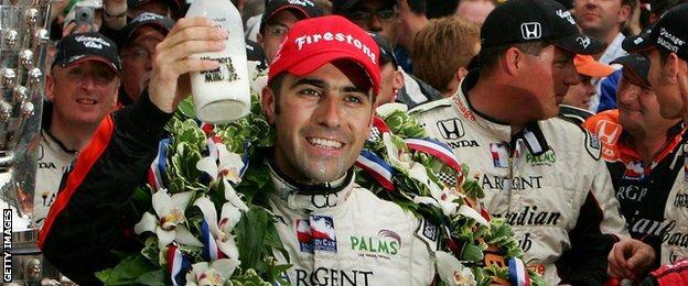 Dario Franchitti celebrates his first win in the Indianapolis 500