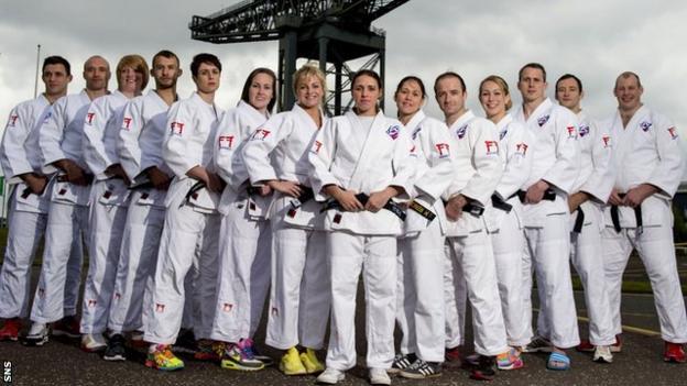 The Scotland judo team for Glasgow 2014