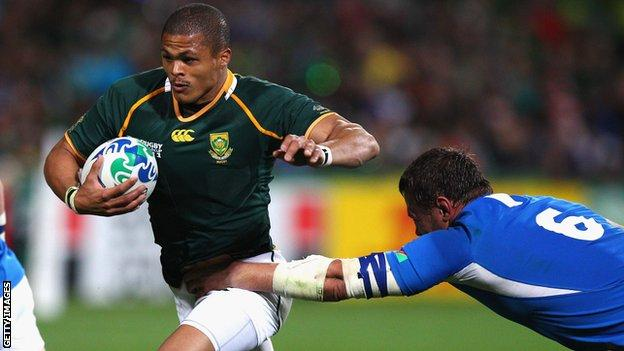 South African centre Juan de Jongh in action for the Springboks.