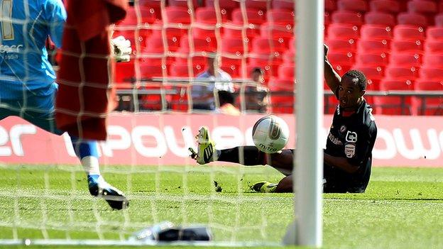 Byron Moore's League Two play-off final strike for Crewe against Cheltenham at Wembley, May 2012