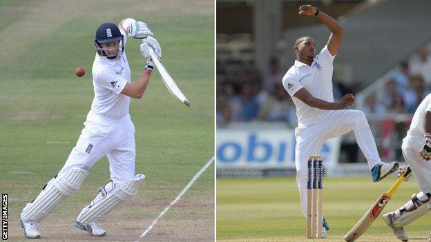 Joe Root and Chris Jordan in England action against Sri Lanka at Lord's