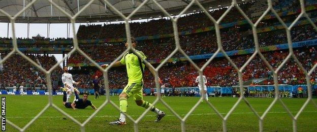 Netherlands striker Robin van Perise scores a spectacular header against Spain