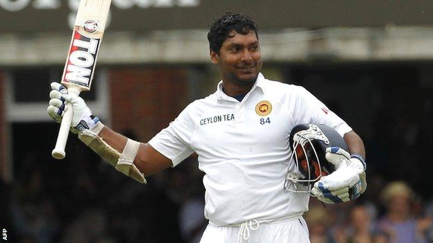 Sri Lanka batsman Kumar Sangakkara celebrates his century at Lord's