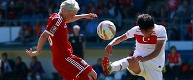 Wales Women in action against Turkey Women