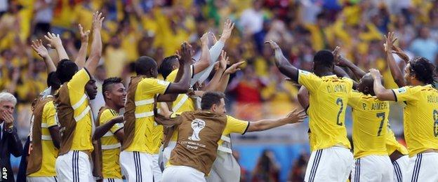 Colombia celebrate their opening goal
